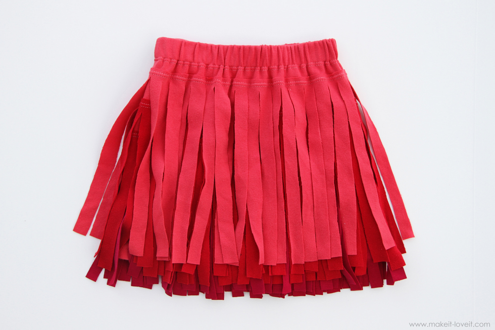 Ombre Fringe Skirt from an old t-shirt