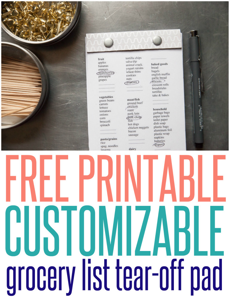 Free Printable Grocery List Tear Off Pad