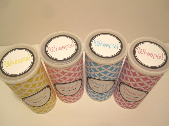 After printing whoopie cookie printable adhere them to the containers.