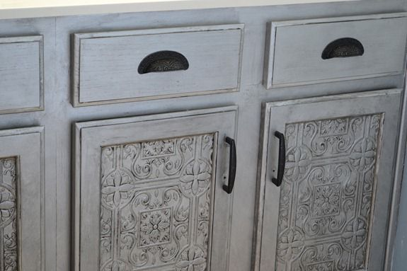 Faux Tin Tile Cabinets Infarrantly Creative