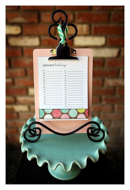 Birthday Calendar Clipboard