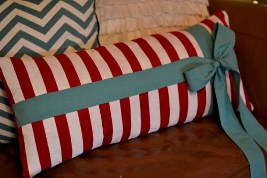 red and aqua pillow