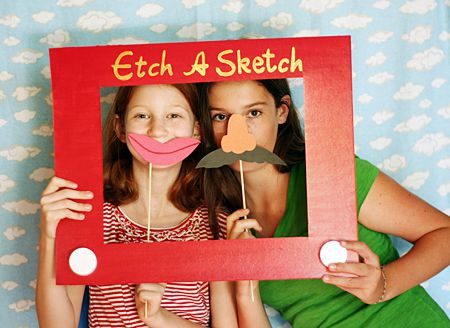etch a sketch photo booth for toy story party