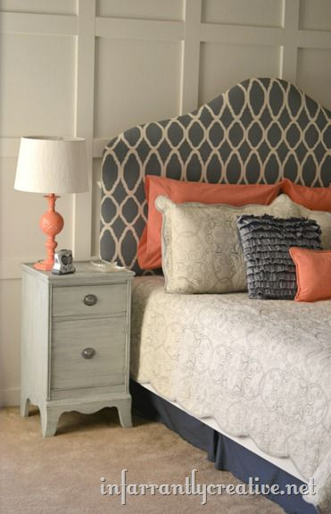 Fabric Upholstered Headboard–Painted & Stenciled