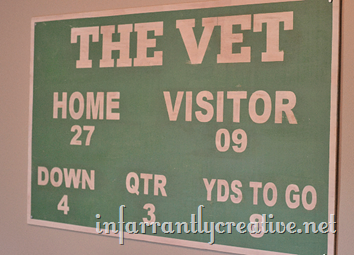 Vintage Football Scoreboard Sign