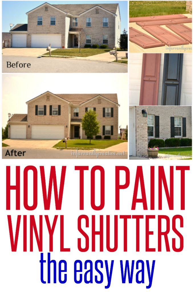 How to paint vinyl shutters infarrantly creative - Best spray paint for exterior shutters ...