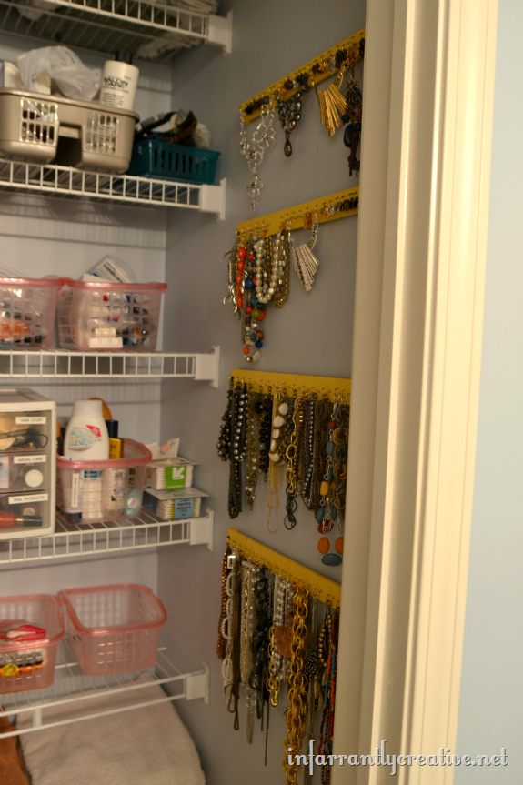 Hanging Jewelry Organizer Paint Stick Project