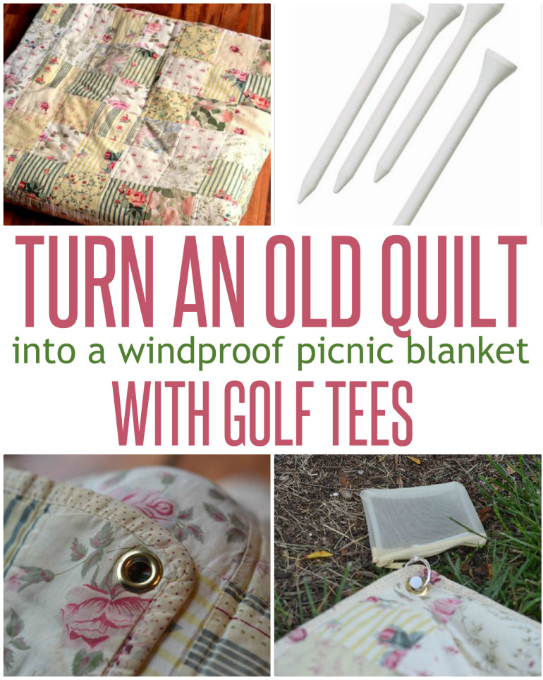 Windproof Picnic Blanket {with golf tees}