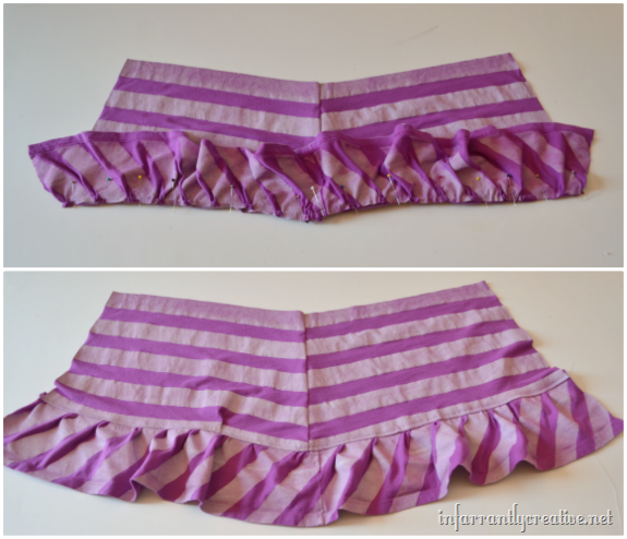 tshirt ruffle on skirt