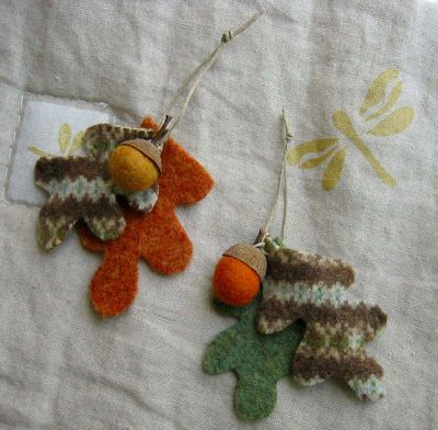 Betz White felted acorns