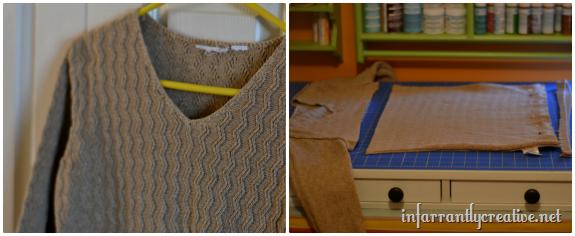 making a sweater pillow