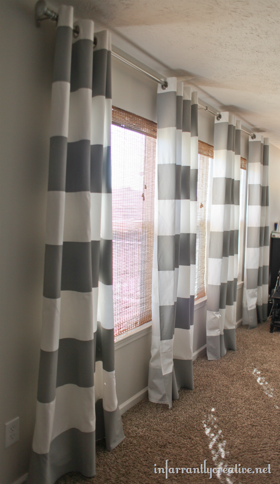 How To Paint Stripes On Curtains  Grey Striped Curtains