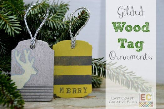 gilded wood tag ornament 2
