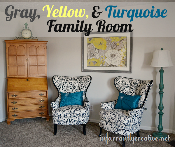 gray-yellow-aqua family room
