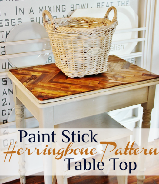 Herringbone Pattern Paint Stick Table
