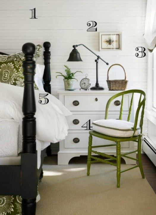 Green White Bedroom numbered