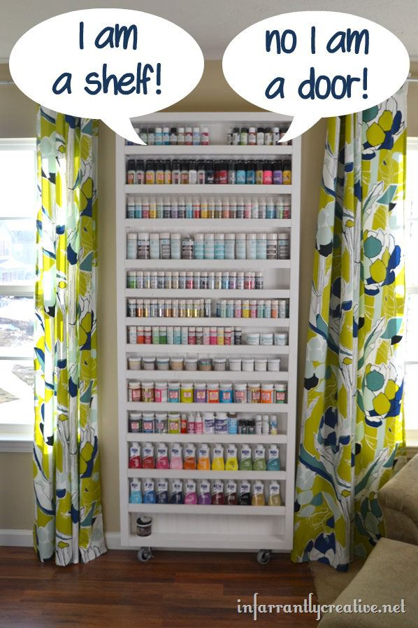 Paint shelf with hidden door Craft storage ideas