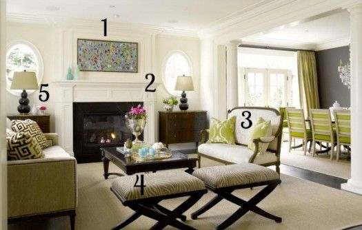 White and Green Living Room numbered
