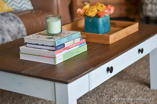 Close up of Chalk Painted Cofeee Table