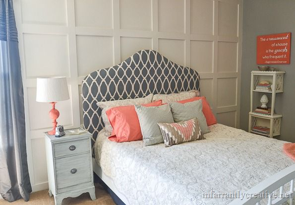 gray and coral bedroom