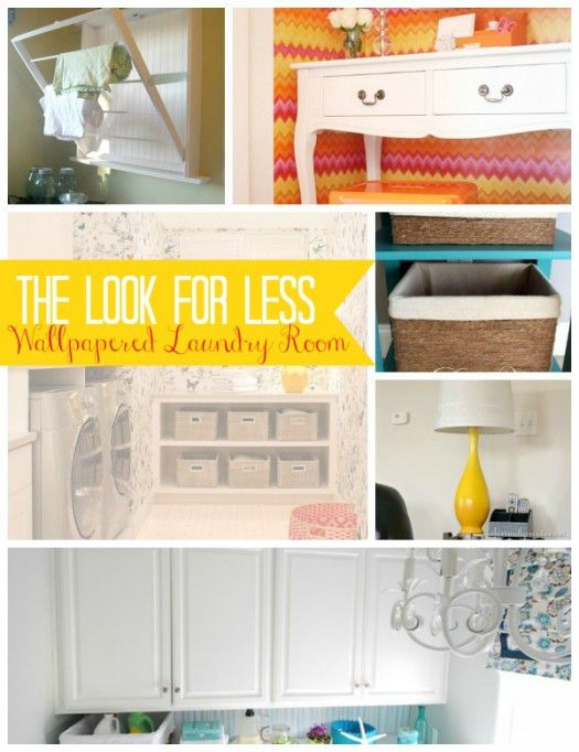 Wallpapered Laundry Room Collage