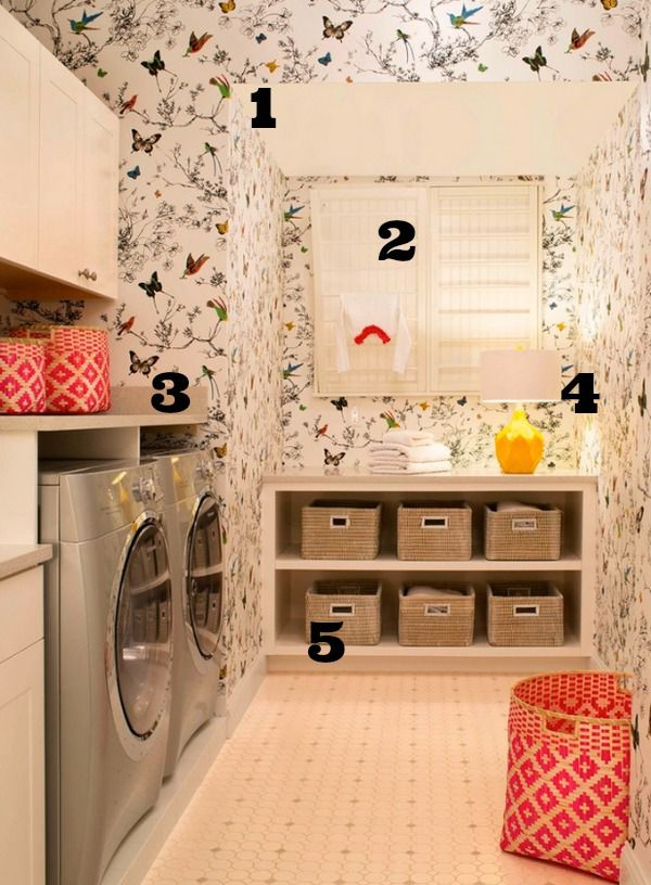 5 Ways to Get This Look:  Wallpapered Laundry Room