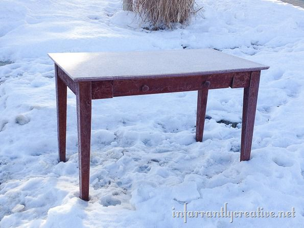 computer desk on the curb