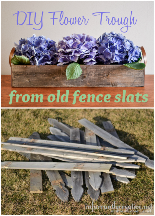 DIY Flower Trough from Old Fence Slats