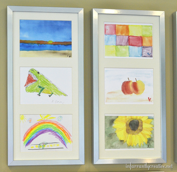 displaying kids art on the wall