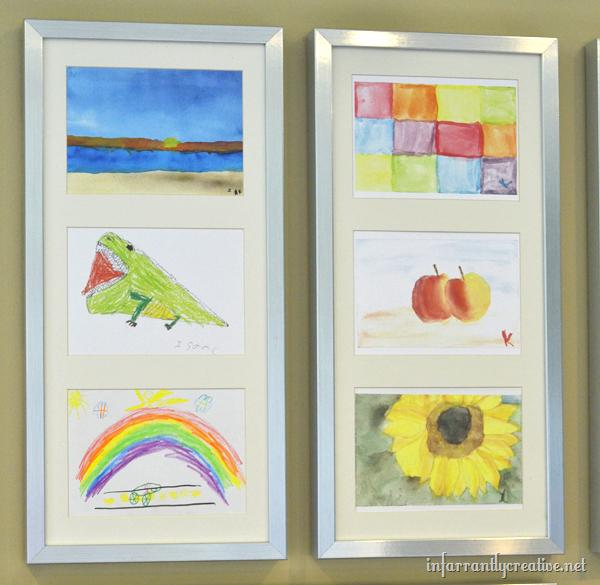 displaying kids art on the wall