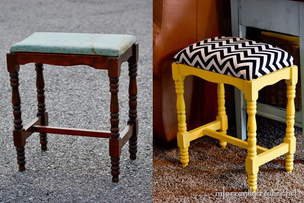 Before and After stool makeover
