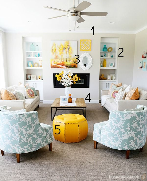 5 Ways to Get this Look: Aqua and Yellow Living Room ...