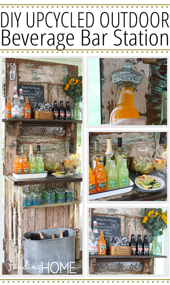 Upcycled Outdoor Beverage Station Bar from Old Doors