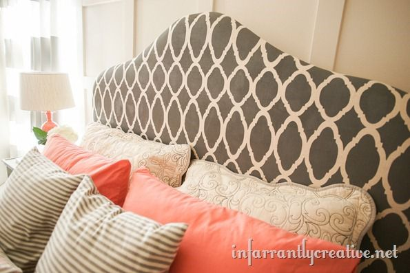 gray-stenciled-headboard