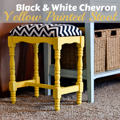yellow chalk painted stool
