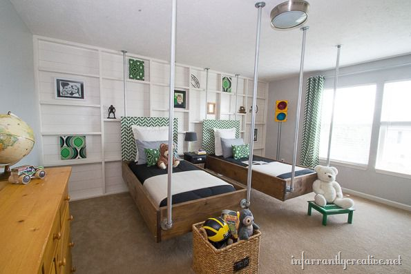 Sons Bedroom Love His Green Glow Goes Well With The: Boys Bedroom Decor: Green & Black Industrial Room Reveal
