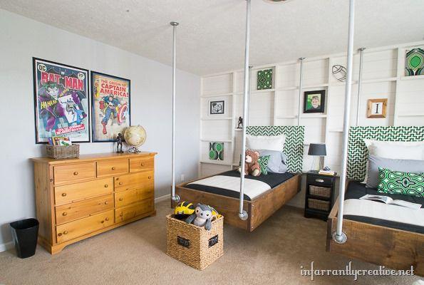 Boys Bedroom Decor Green Black Industrial Room Reveal. Comic Book Bedroom
