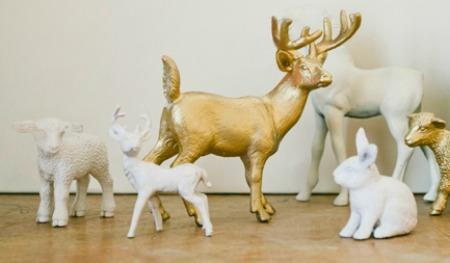 Folk painted plastic animals