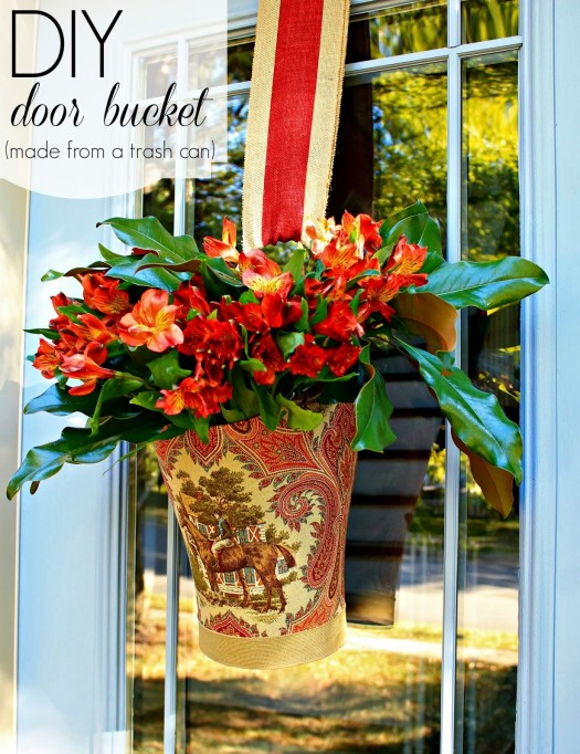 Trash Can Fresh Flower Door Vase
