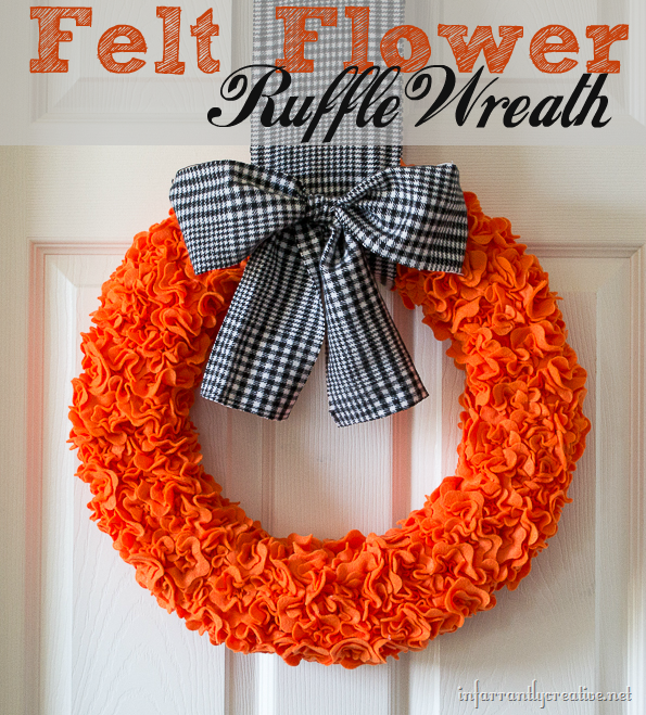 Halloween Felt Flower Ruffle Wreath