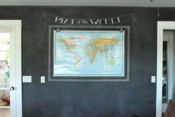 Love the look of a wall sized chalkboard  The Pleated Poppy recently