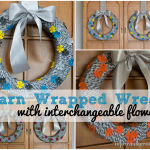Yarn wrapped wreath with interchangeable flowers