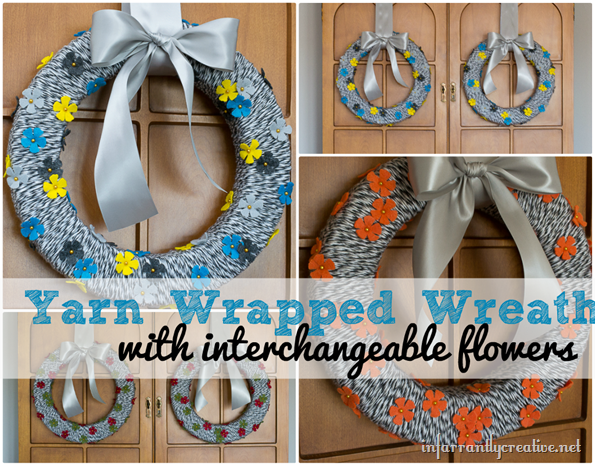 DIY Felt Flower Yarn Wreath