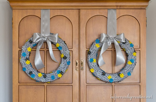 aqua yellow floral wreath