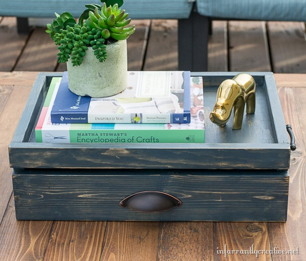 coffee table tray - Coffee Table Tray With Drawer {Lowes Creative Idea} - Infarrantly
