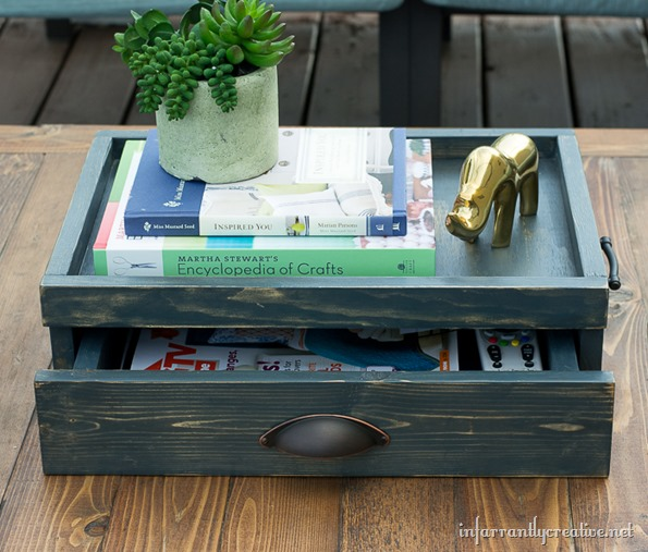 coffee table tray with drawer {lowes creative idea} - infarrantly