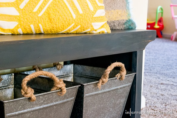 farmhouse bench with industrialbins