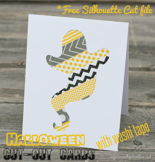 silhouette ghost halloween card
