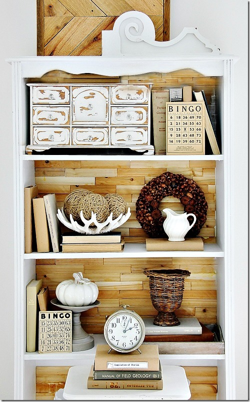 rustic wood bookcase