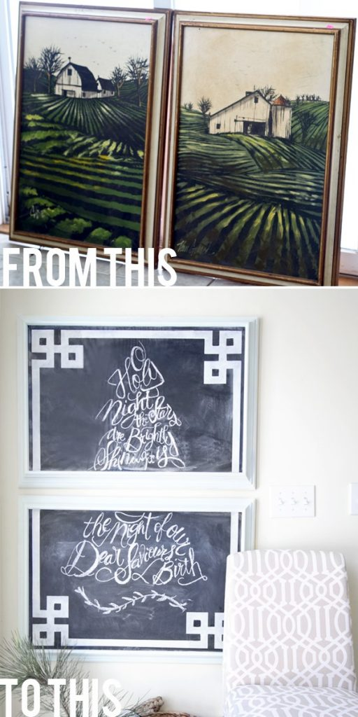 DIY Greek Key Stenciled Chalkboard Art